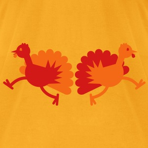 Thanksgiving Turkey two running away! Bags  - Men's T-Shirt by American Apparel