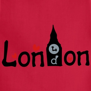 London txt Bigben hearts vector graphic art Women's Slim Fit T-Shirt by American Apparel - Adjustable Apron