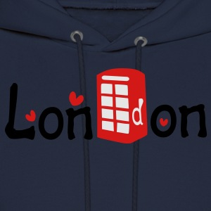 London txt red telephone booth hearts vector graphic art Women's Slim Fit T-Shirt by American Apparel - Men's Hoodie