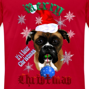 Wonderful Christmas Boxer Dog - Men's T-Shirt by American Apparel