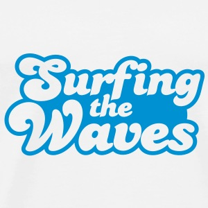 Surfing the waves Buttons - Men's Premium T-Shirt