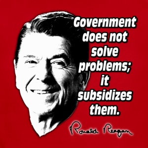 Reagan Quote Government Subsidizes Problems Kids' Shirts - Short Sleeve Baby Bodysuit