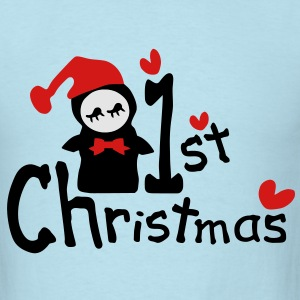 My 3rd Christmas txt penguin hearts vector graphic lien art Baby Long Sleeve One Piece - Men's T-Shirt
