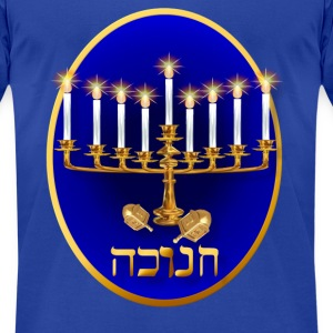 Golden Hanukkah Oval - Men's T-Shirt by American Apparel