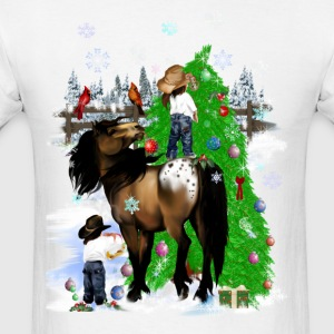 A Horse and Kid Christmas - Men's T-Shirt