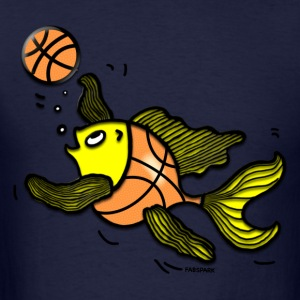 Basketball Fish, Fish Playing Basketball - Men's T-Shirt