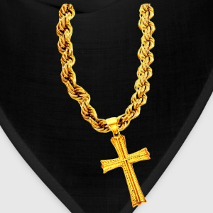 Bling Bling Gold Cross on Thick Gold Chain - Bandana