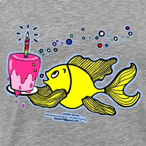 Happy Birthday, Fish with cake and candle  - Men's Premium T-Shirt