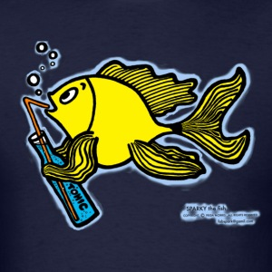 Drinking fish smoky, Sparky the Fish with a Drink - Men's T-Shirt