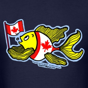 Canadian Flag Fish , Fish holding Canada Flag  - Men's T-Shirt