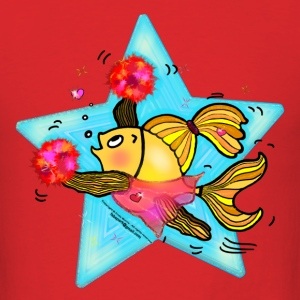 Cheerleader Fish cute funny sparky comics Cheer (Clear Background)  - Men's T-Shirt