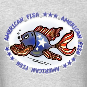 AMERICAN FISH, RED WHITE BLUE FISH, Jeans fish   - Men's T-Shirt