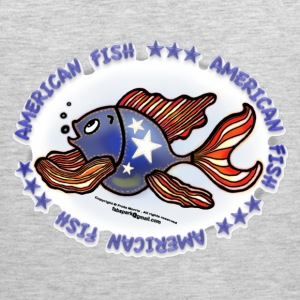 AMERICAN FISH, RED WHITE BLUE FISH, Jeans fish   - Men's Premium Tank