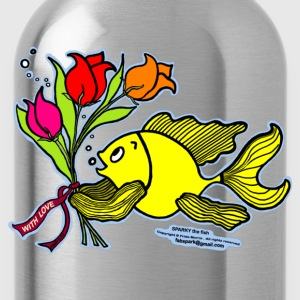 With Love, Fish with Flowers, Sparky the fish  - Water Bottle