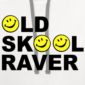 Old skool Raver 2 Colour design T-Shirts - Contrast Hoodie