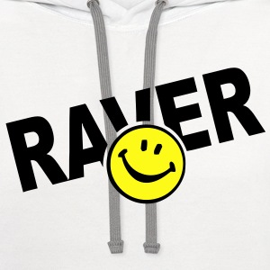 Smiley Face Raver T-Shirts - Contrast Hoodie