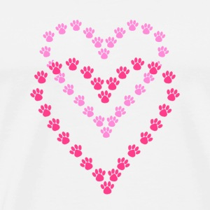 Paws Here Small Button Pink Paw Prints - Men's Premium T-Shirt