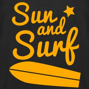 sun and surf with surfboard good for holidays! T-Shirts - Men's Premium Tank