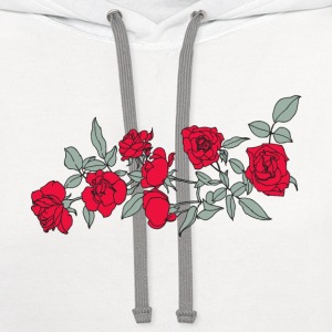 Roses (red), with leaves Women's T-Shirts - Contrast Hoodie