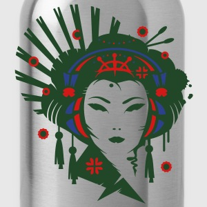 A Japanese geisha girl with headphones Tanks - Water Bottle
