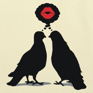 Kiss thinking  Doves - Two Valentine Birds_3c T-Shirts - Eco-Friendly Cotton Tote