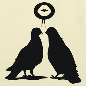 Kiss saying Doves - Two Valentine Birds_1c T-Shirts - Eco-Friendly Cotton Tote