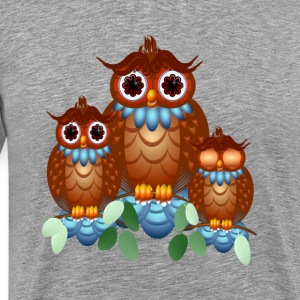 Three Alert Little Owls - Men's Premium T-Shirt
