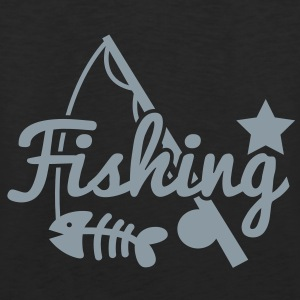FISHING star with rod and fish bones Long Sleeve Shirts - Men's Premium Tank