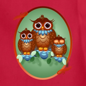 Three Alert Little Owls Oval - Adjustable Apron