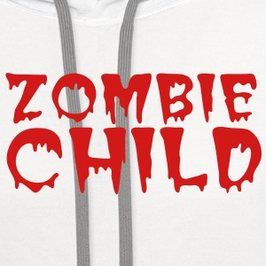 zombie child with bloody font red Polo Shirts - Contrast Hoodie