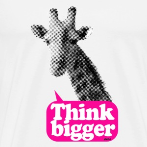 giraffe think bigger saying Buttons - Men's Premium T-Shirt