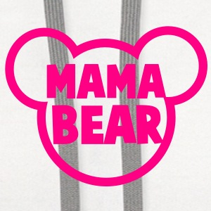 MAMA BEAR in a teddy shape super cute! Buttons - Contrast Hoodie