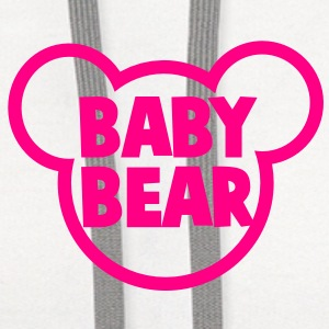 BABY BEAR in a teddy shape super cute! Buttons - Contrast Hoodie