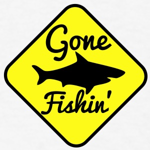 GONE FISHING with a SHARK on a yellow sign Buttons - Men's T-Shirt