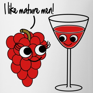 I like mature men Grape / Wine Vector Design Wom - Coffee/Tea Mug