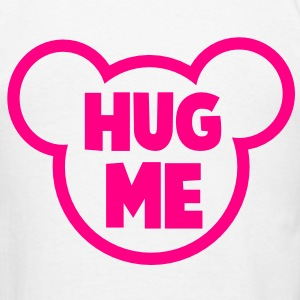 HUG ME romance teddy bear outline shape Hoodies - Men's T-Shirt