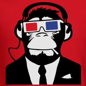 3D Ape Monkey Club Electro Motive Headphones  T-Shirts - Crewneck Sweatshirt