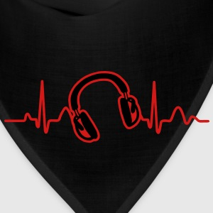Lines of Heart, Heart Pulz line electrocardiogram with headphones headphones T-Shirts - Bandana