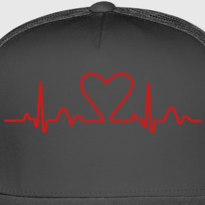Lines of Heart electrocardiogram heart pulse heart, loving couples, Valentine's Day T-Shirts - Trucker Cap