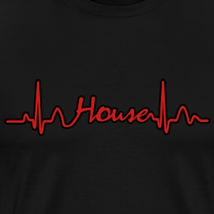 Lines of Heart House Music electrocardiogram heart pulse Hoodies - Men's Premium T-Shirt