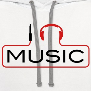 I love music plug headphones sound bass beat catch cable music i love techno minimal house club dance dj discjockey electronic electro Kids' Shirts - Contrast Hoodie