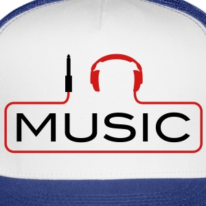 I love music plug headphones sound bass beat catch cable music i love techno minimal house club dance dj discjockey electronic electro Kids' Shirts - Trucker Cap