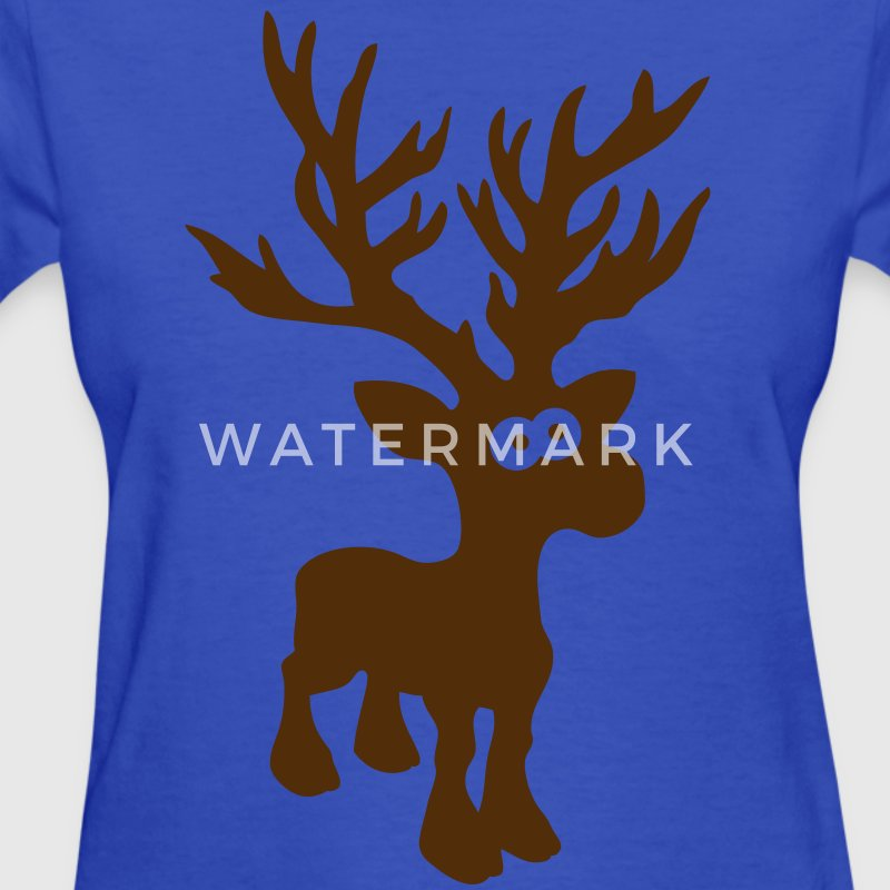 moose caribou reindeer deer christmas rudolph rudolf winter horns antlers deer head Women's T-Shirts - Women's T-Shirt