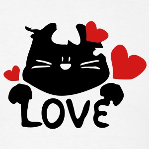Kitty cat & red hearts  love Women's Longer Length Fitted Tank - Men's T-Shirt