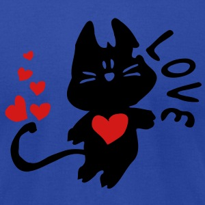 Kitty cat & red hearts Women's Longer Length Fitted Tank - Men's T-Shirt by American Apparel