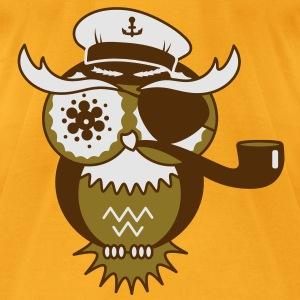 An owl with captain's hat, eye patch and pipe tobacco Bags  - Men's T-Shirt by American Apparel