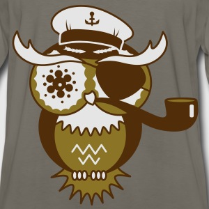 An owl with captain's hat, eye patch and pipe tobacco Bags  - Men's Premium Long Sleeve T-Shirt