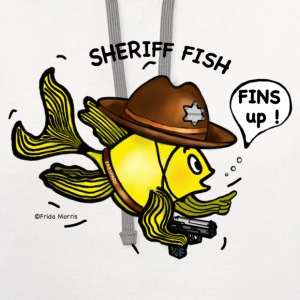 Sheriff fish holding gun saying fins up  - Contrast Hoodie