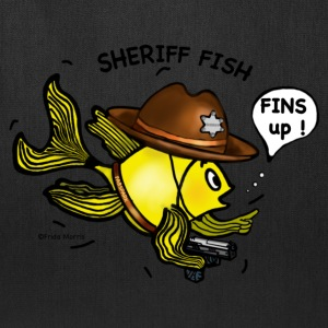 Sheriff fish holding gun saying fins up  - Tote Bag