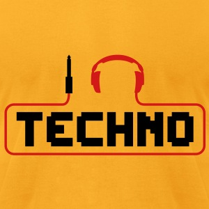 I Love Techno headphones music minimal gabber club bass beat hardcore Bags  - Men's T-Shirt by American Apparel